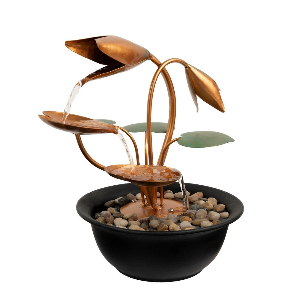 Pure Garden 10 5 In Indoor Cascading Tulip Tabletop Water Fountain Hw155061 The Home Depot