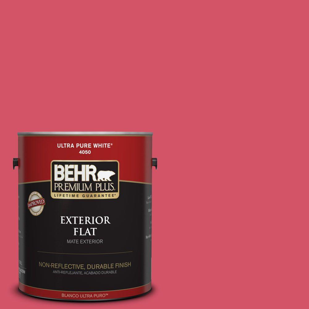 Behr Premium Plus 1 Gal 130b 6 Dragon Fruit Flat Exterior Paint 430001 The Home Depot