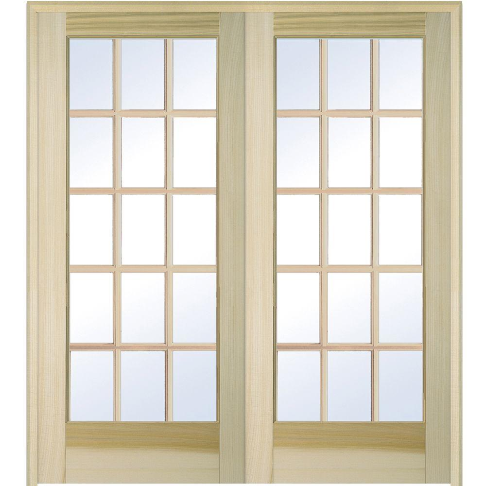 MMI Door 72 in. x 80 in. Both Active Unfinished Poplar Glass 15-Lite Clear True Divided Prehung Interior French Door