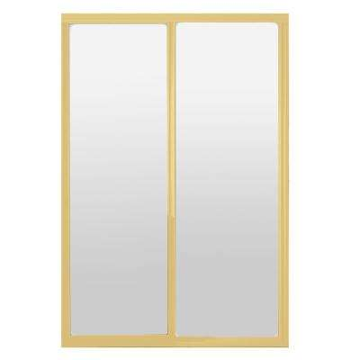 72 in. x 81 in. Silhouette 1-Lite Mystique Glass Bright Gold Frame Aluminum Sliding Door