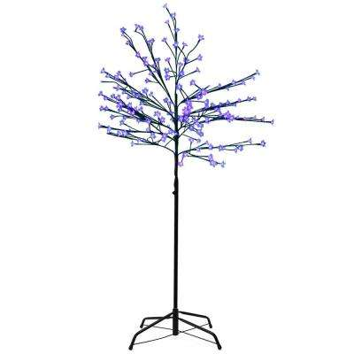8 ft. LED Lighted Japanese Sakura Blossom Flower Tree and Blue Lights