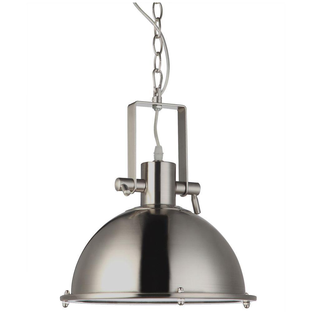 Dorado 1-Light Satin Nickel LED Adjustable Hanging Industrial Pendant 11 in.