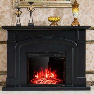 9 in. W 750-Watt to 1500-Watt Embedded Insert Wall Mounted Heater Glass Log Flame Electric Fireplace with Remote Black