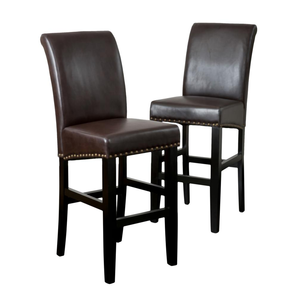 Noble House Noble House Lisette 30 in. Brown Leather Studded Bar Stool (Set of 2)