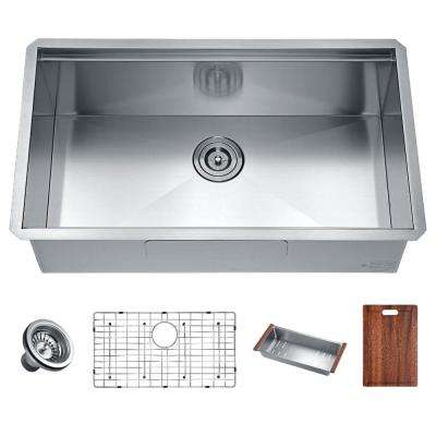 Aegis Undermount Stainless Steel 30 in. Single Bowl Kitchen Sink with Cutting Board and Colander