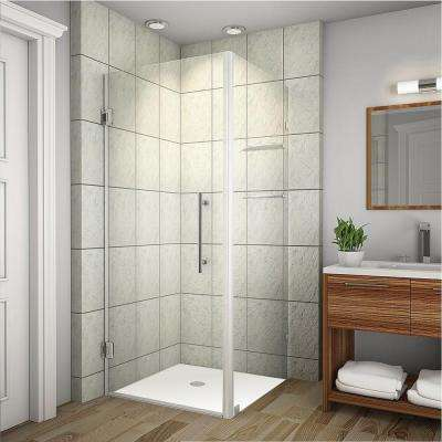 Aquadica GS 34 in. x 72 in. Frameless Square Shower Enclosure in Stainless Steel with Glass Shelves