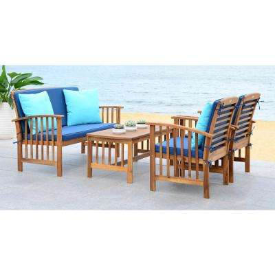 Rocklin Natural 4-Piece Wood Patio Conversation Set with Navy Cushions
