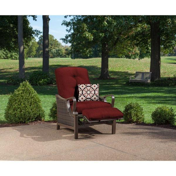 Hanover - Ventura All-Weather Wicker Reclining Patio Lounge Chair with Crimson Red Cushions