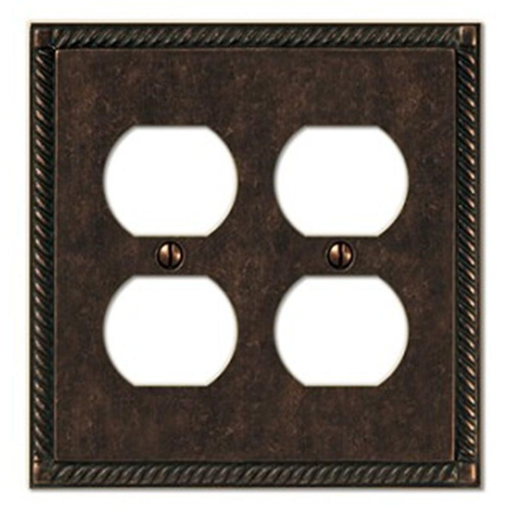 Creative Accents Tuscan 2 Duplex Wall Plate - Antique Bronze