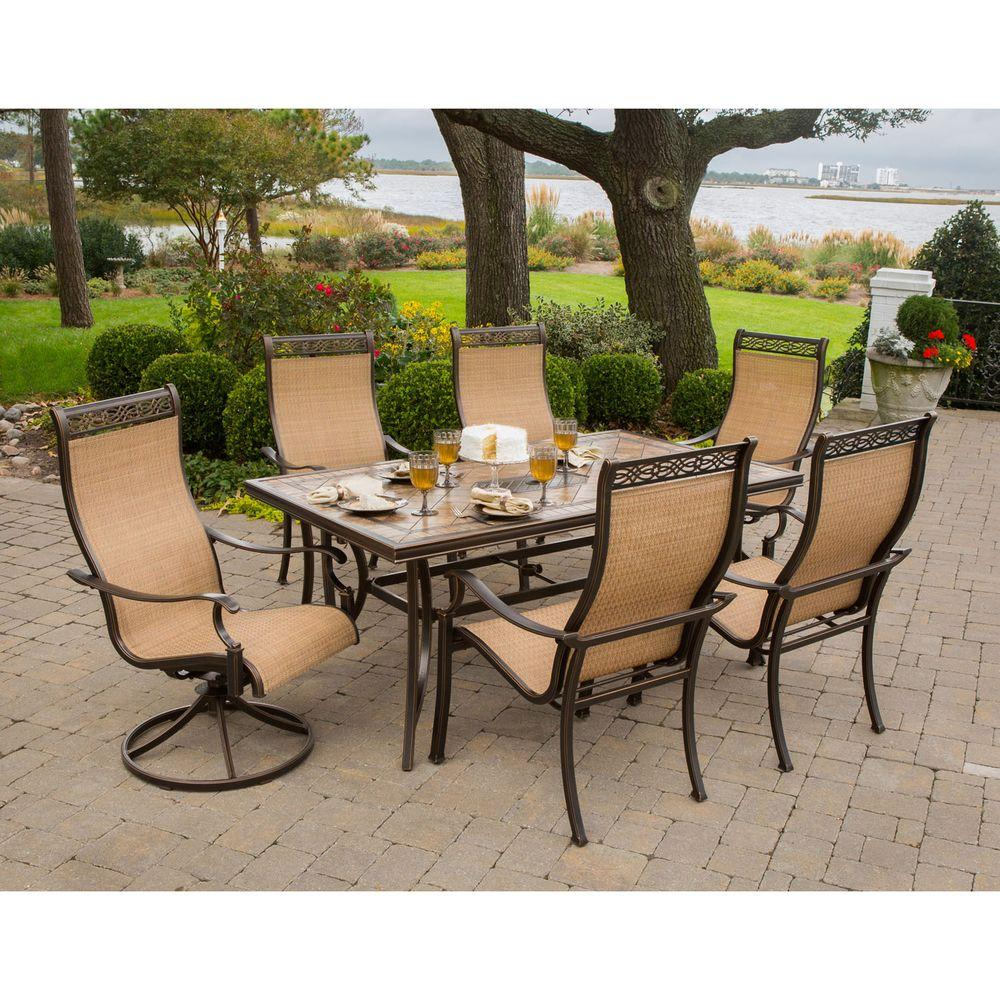 Hanover monaco 7 piece outdoor patio dining set for Garden patio sets