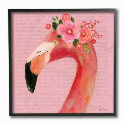 "12 in. x 12 in. ""Floral Flamingo Pink Portrait"" by Stephanie Workman Marrott Framed Wall Art"