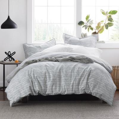 Ryder Chevron Striped Cotton Percale Full Duvet Cover