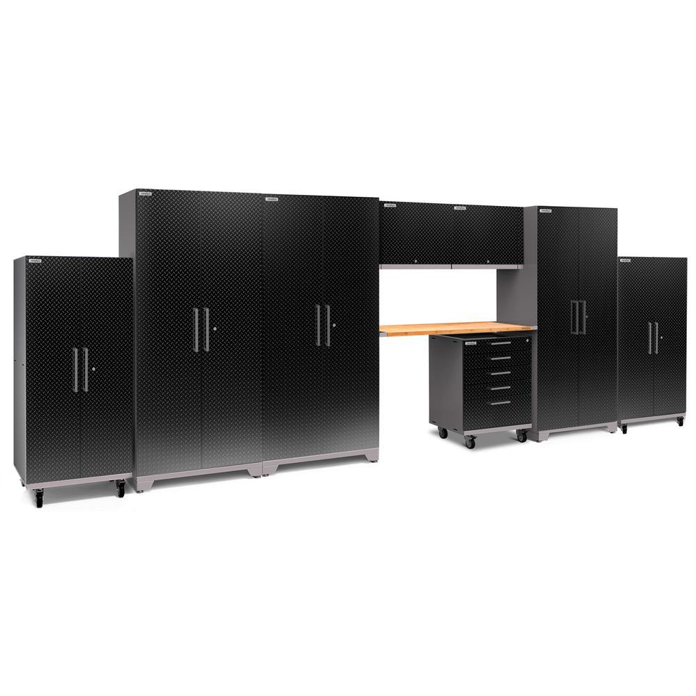 Performance Plus Diamond Plate 2.0 80 in. H x 225 in. W x 24 in. D Garage Cabinet Set in Black (9-Piece)