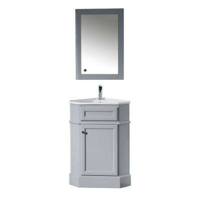 Monte 25 in. W x 18 in. D Corner Vanity in Grey with Porcelain Vanity Top with White Basin and Mirror Cabinet