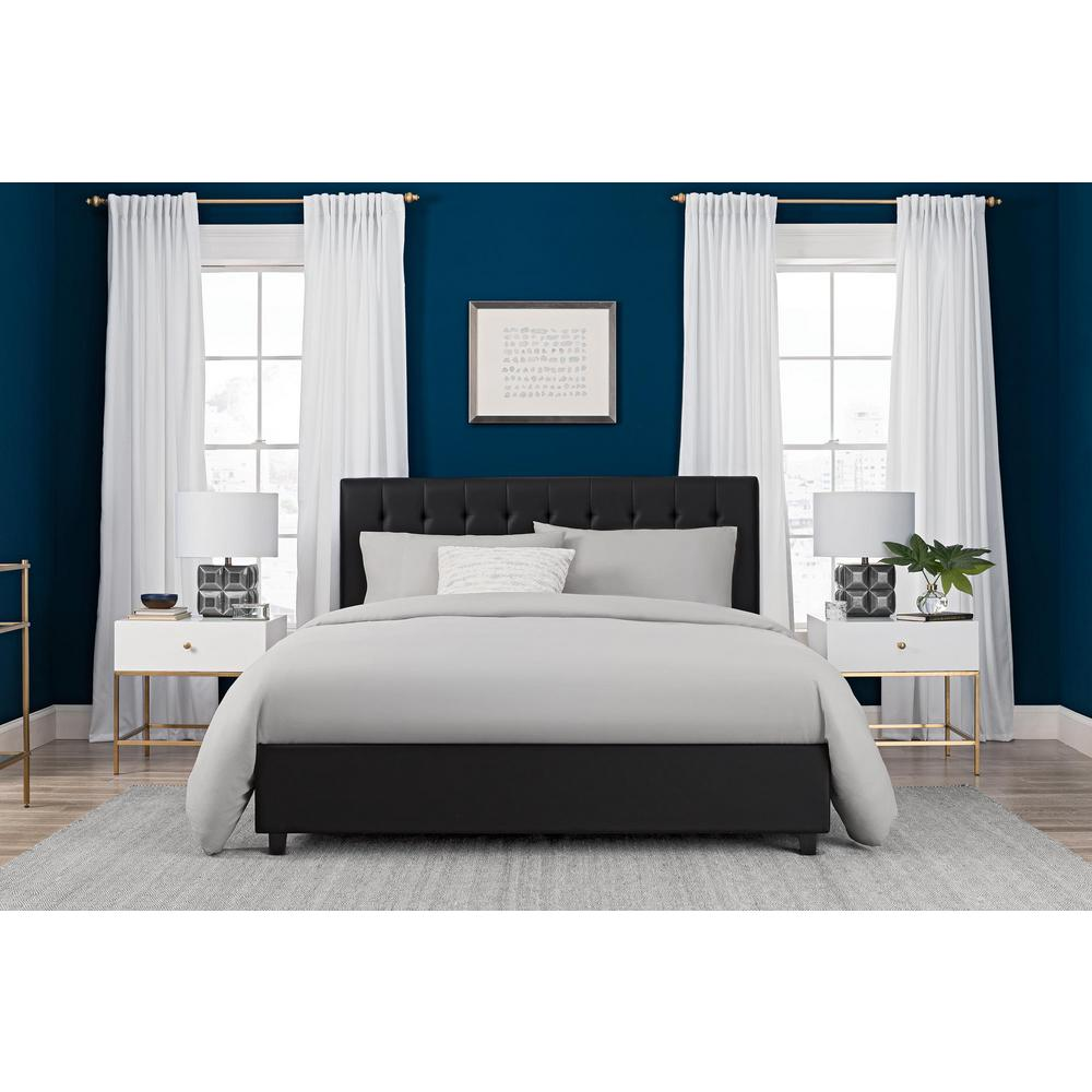 DHP Eva Black Upholstered Faux Leather Queen Size Bed Frame ...