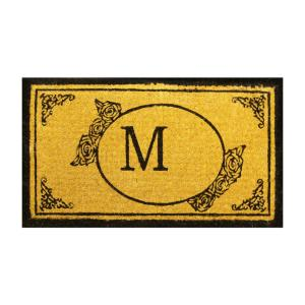 Monogram M 30 inch x 18 inch Coir Outdoor Welcome Entrance Doormat by