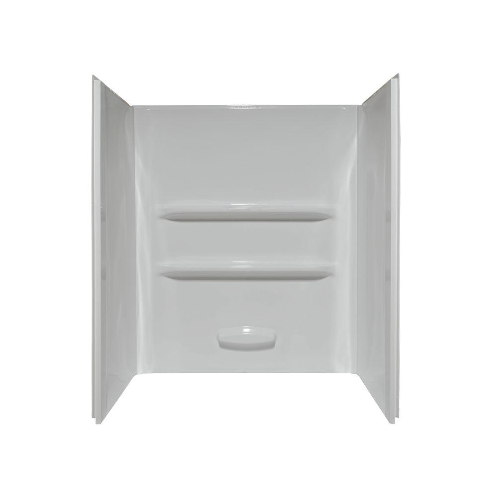 Lyons Industries Elite 34 in. x 60 in. x 69 in. 3-Piece Direct-to-Stud Shower Wall Kit in White