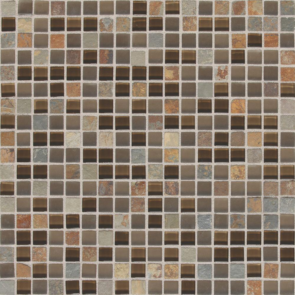 Daltile Slate Radiance Saddle 11-3/4 in. x 11-3/4 in. x 8 mm Glass and Stone Mosaic Blend Wall Tile (1 sq. ft. / piece)