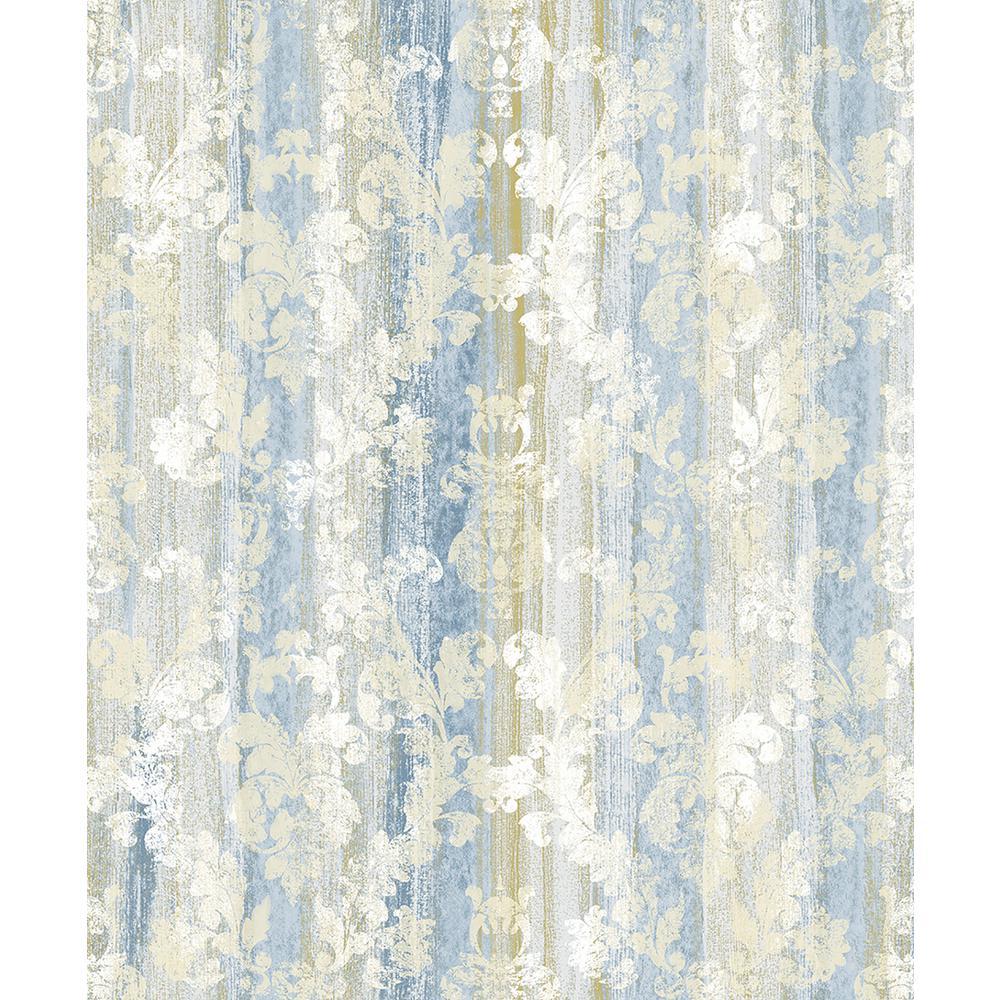 57.8 sq. ft. Camilia Blue Damask Wallpaper