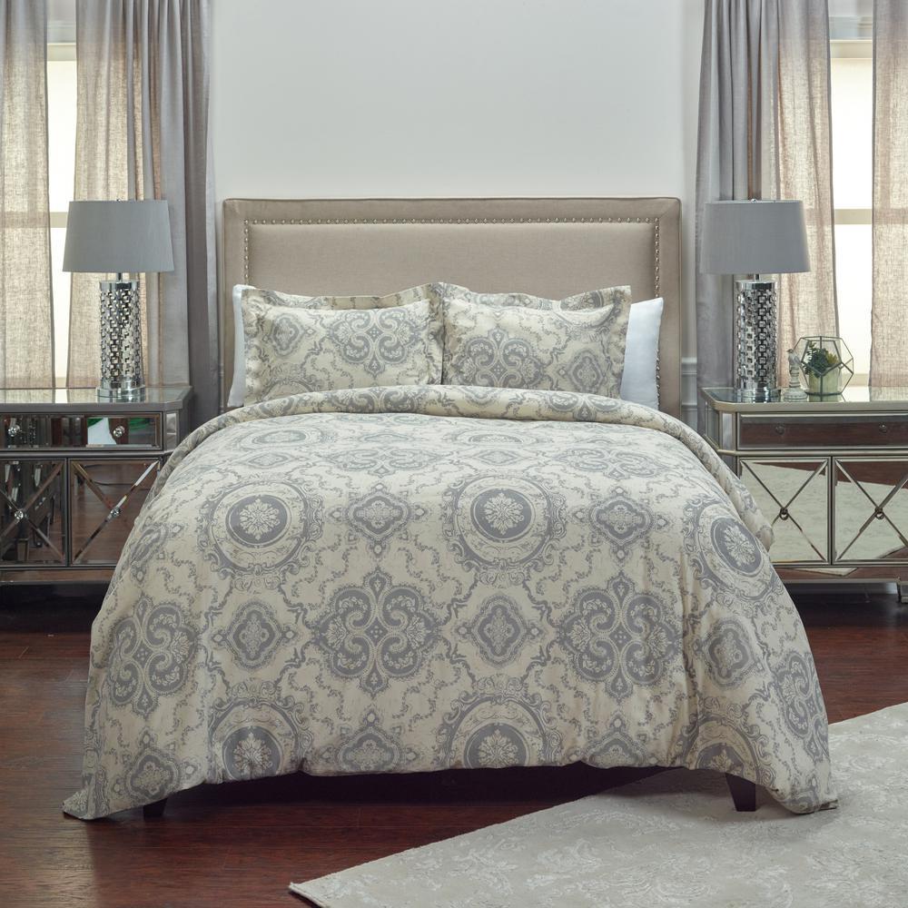 Khaki/Gray Medallion Pattern 3-Piece Queen Bed Set