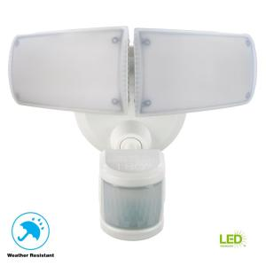 180 White Motion Activated Outdoor Integrated Led Twin Head Flood Light With Adjule Color Temperature