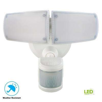 180° White Motion Activated Outdoor Integrated LED Twin Head Flood Light with Emergency Back Up Light