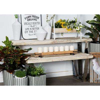 Stained Brown Rectanglular Console Table with Silver Base Frames