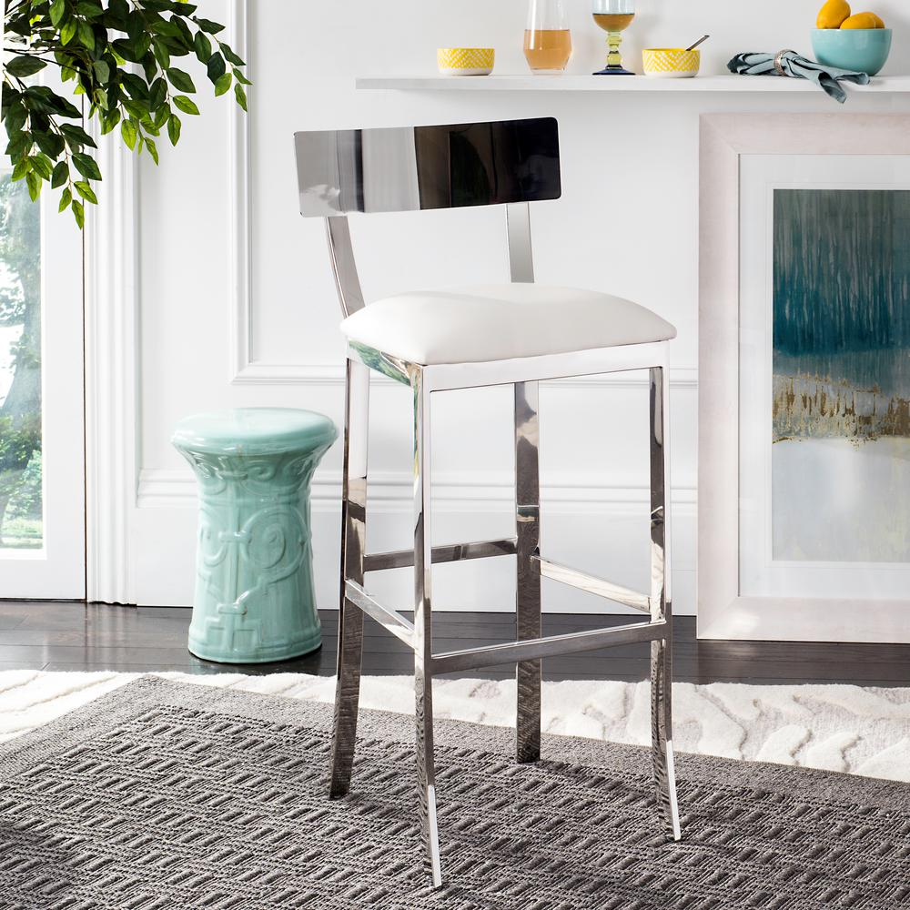 Abby 30.5 in. Stainless Steel Bar Stool in White