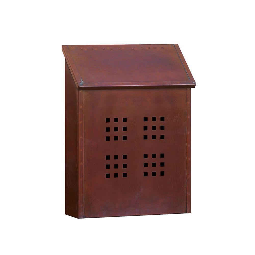 Salsbury Industries 4400 Series Decorative Antique Br Surface Mounted Vertical Mailbox