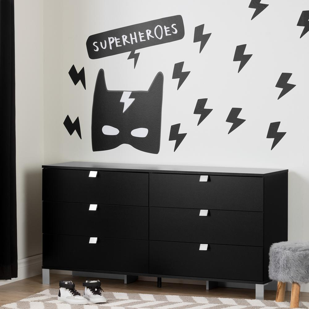 South Shore DreamIt Black Superheroes Wall Decals The - Superhero wall decals application