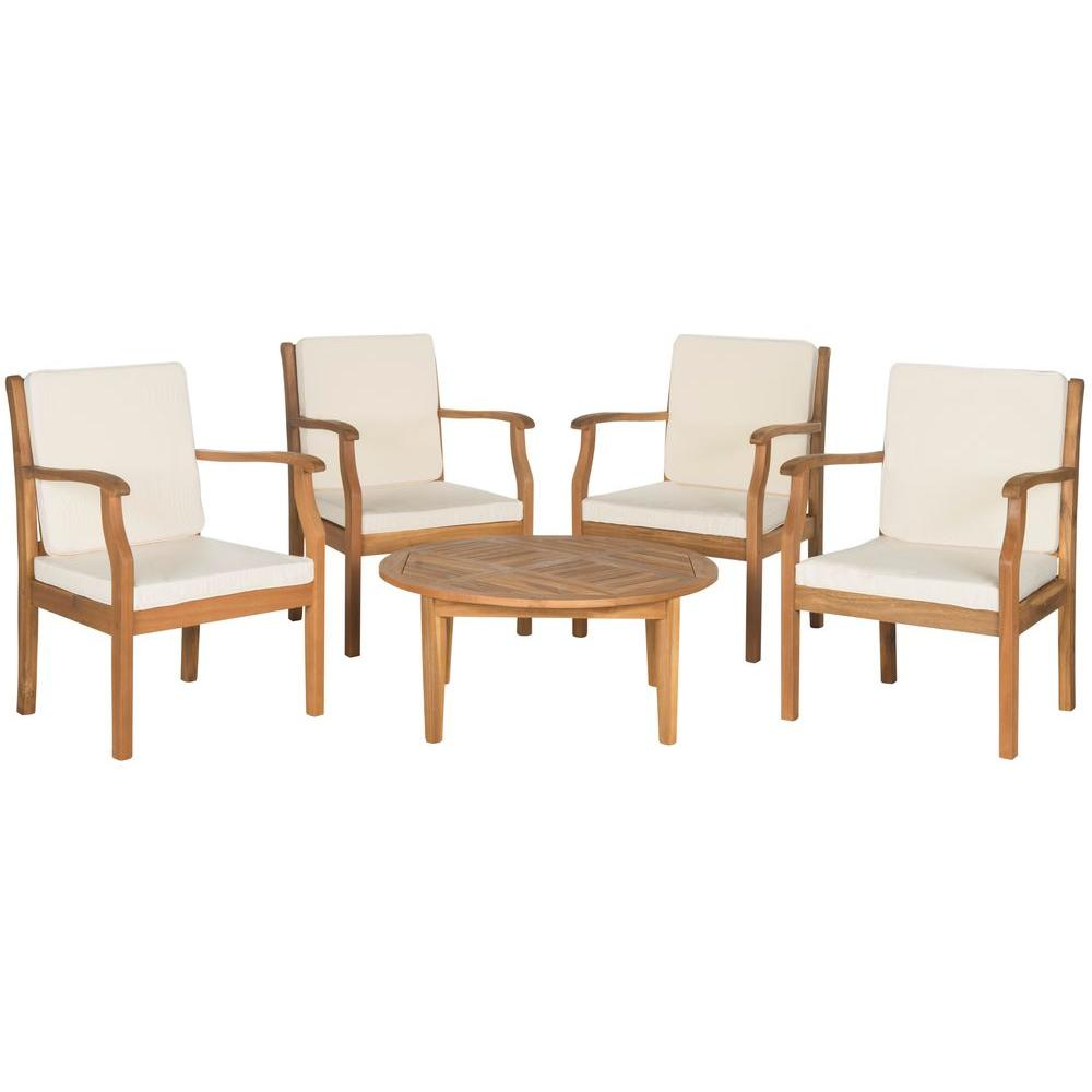 Colfax Teak Brown 5-Piece Patio Seating Set with Beige Cushions