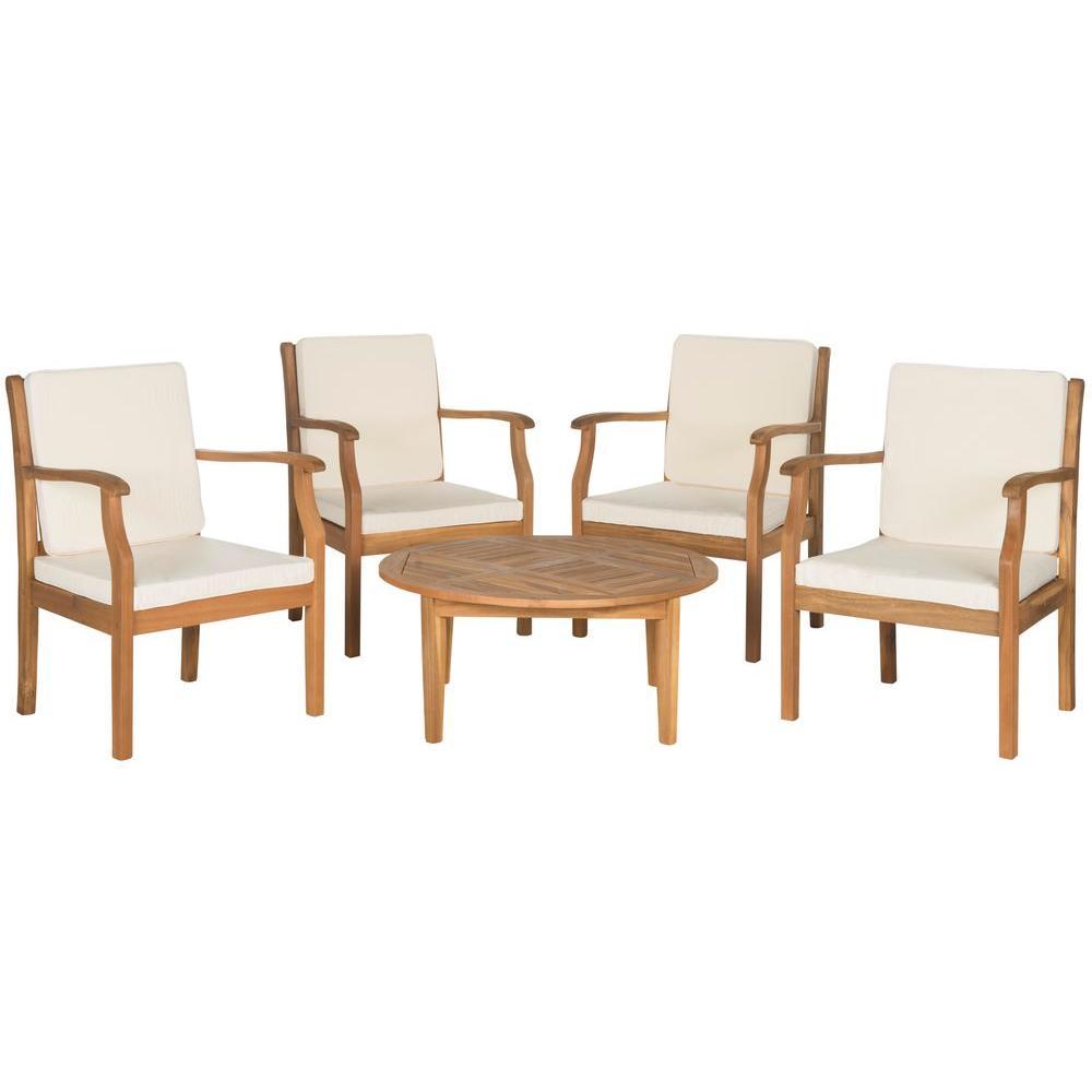 Safavieh Colfax Teak Brown 5 pc Wood Patio Conversation Set w/ Beige Cushions