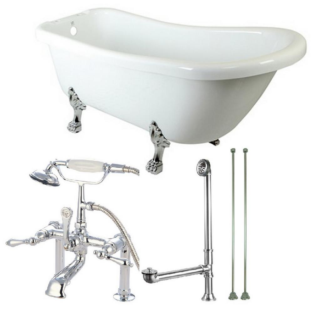 Slipper 5.6 ft. Acrylic Clawfoot Bathtub in White and Faucet Combo