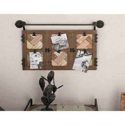 6-Openings 29 in. W x 17 in. H Matte Brown and Metallic Black Picture Frame