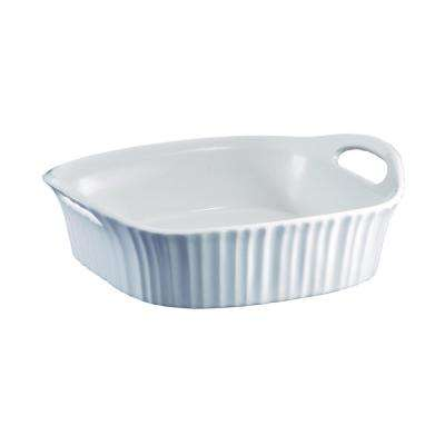 French White 2 Qt. 8 in. x 8 in. Square Stoneware Baker