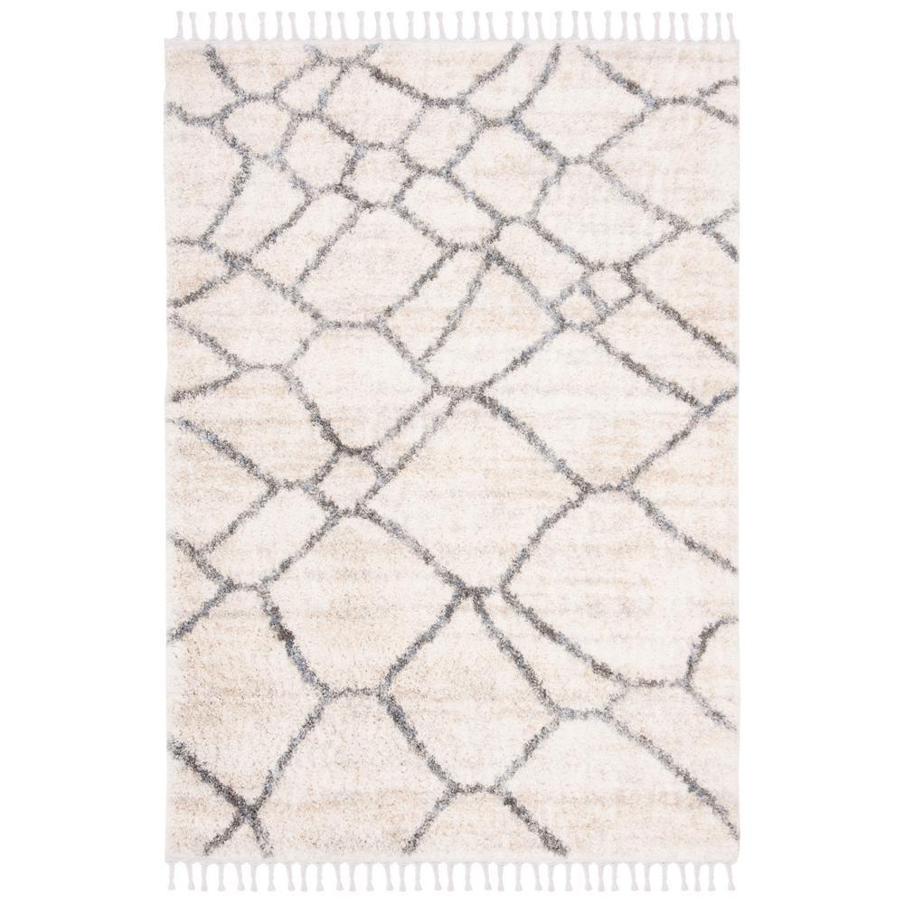 Safavieh Berber Fringe Shag Cream Gray 8 Ft X 10 Ft Area Rug Bfg629a 8 The Home Depot