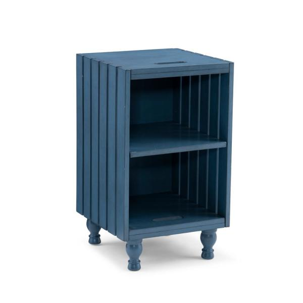 Hubbing 33 in. Blue Table with Shelf Legs