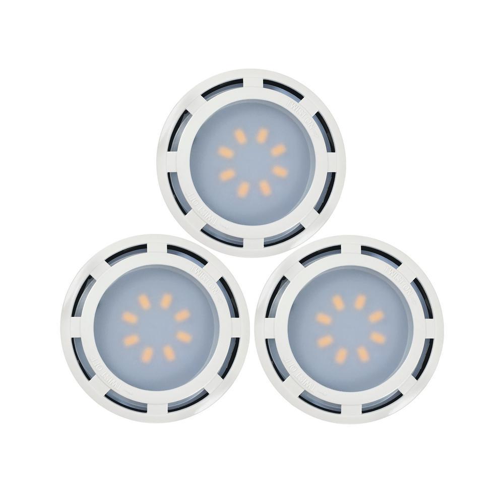 Westek 4.6 In. LED White Puck Light (3-Pack)-KBLD-L3W-N1