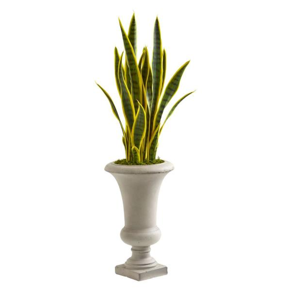 Nearly Natural 3 ft. Indoor Sansevieria Artificial Plant in Urn