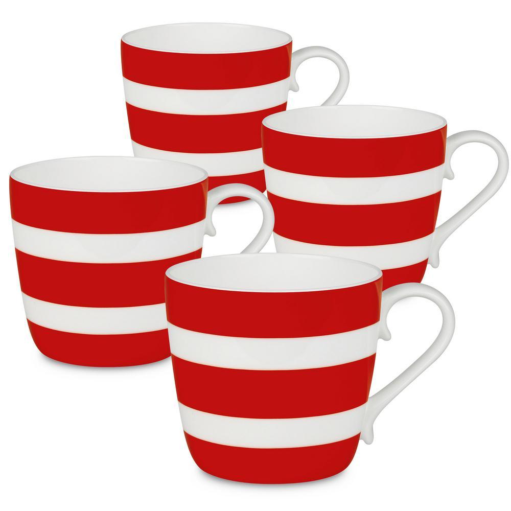 Konitz 4-Piece Polka Stripes Strawberry Bone China Mug Set