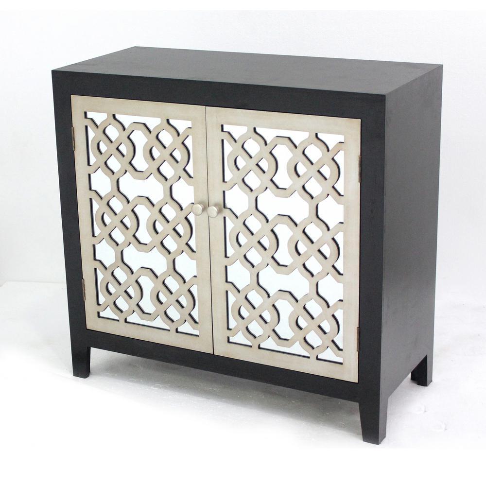 Black Wood Mirror 2 Door Storage Cabinet Af 048 The Home Depot