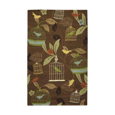 Aviary Brown 9 ft. x 12 ft. Area Rug