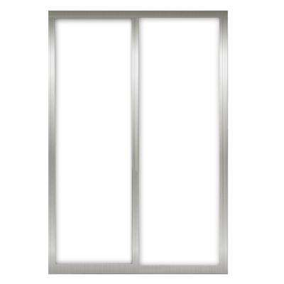 72 in. x 81 in. Silhouette 1-Lite Mystique Glass Brushed Nickel Frame Aluminum Sliding Door
