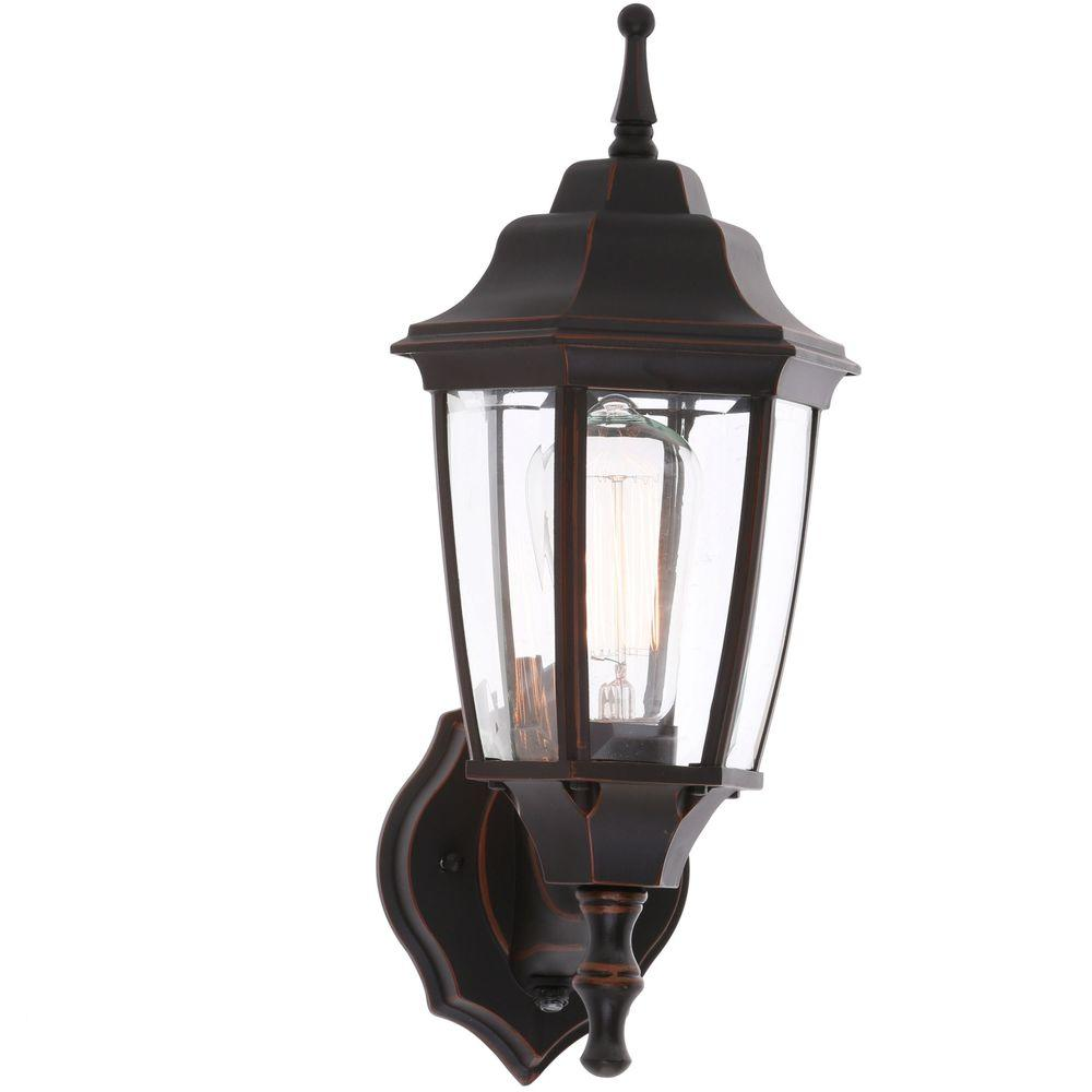Hampton Bay 1 Light White Outdoor Dusk To Dawn Wall Lantern Bpp1611 Wht The Home Depot