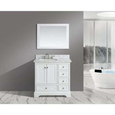 Jocelyn 36 in. W x 22 in. D Bath Vanity in White with Carrara Marble White Top with White Square Basins and Mirror
