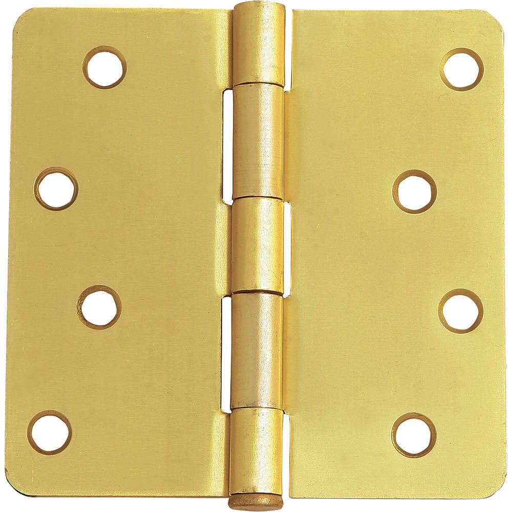 4 in. x 1/4 in. Radius Satin Brass Door Hinge Value Pack (10 per Pack)