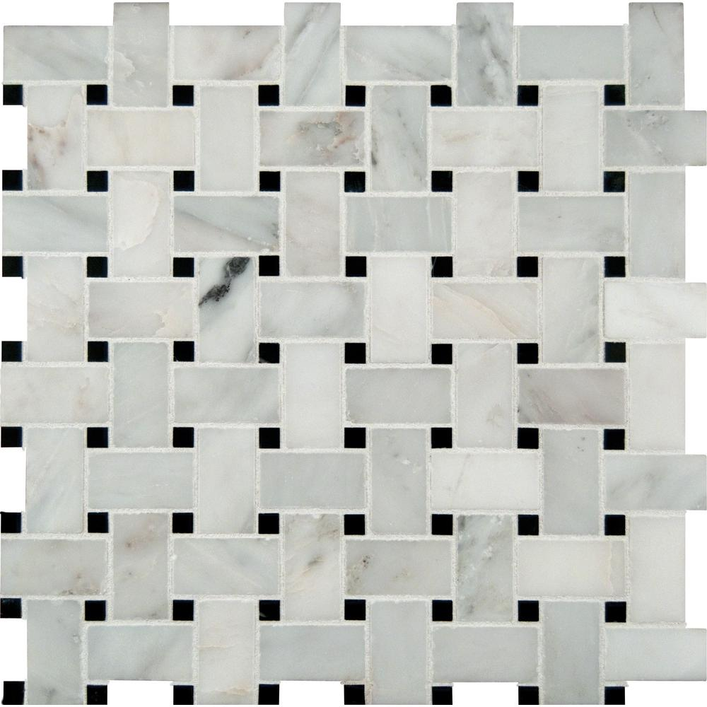 MSI Greecian White Basketweave 12 in. x 12 in. x 10 mm Polished Marble Mesh-Mounted Mosaic Tile