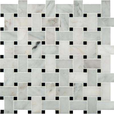 Greecian White Basketweave 12 In. X 12 In. X 10 Mm Polished Marble Mesh