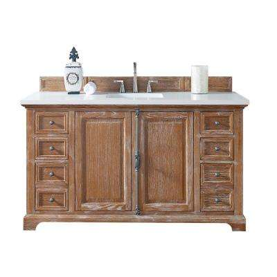 Providence 60 in. W Single Vanity in Driftwood with Quartz Vanity Top in White with White Basin