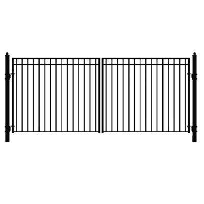 Madrid 16 ft. x 6 ft. Black Steel Dual Driveway Fence Gate